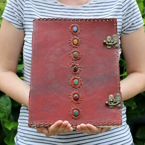 """Huge 7 Chakra Real Leather Book - 10x13"""" (200 pages) Journal Diary Sketch"""
