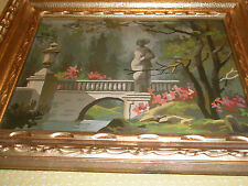 Vintage Framed Paint By Number Statue in Garden at Bridge Foliage Rocks Trees