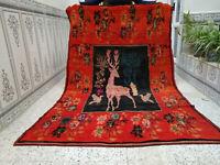 Handmade Vintage Moroccan Azilal Rug Berber Tribal Rug Wool Carpet 5.08 x 7.8 ft