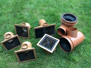 Osma Underground Drainage 110mm Pipe Fittings.Bottle Gulley Hoppers. Joblot