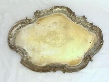 19TH Charming Antique French Large Silverplated Tray Rococo Centerpiece