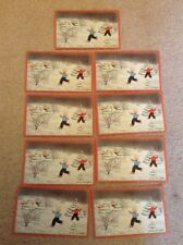 9 VINTAGE POSTCARDS GREETINGS CHRISTMAS SNOW CHILDREN UNUSED TREE SNOWBALL FIGHT