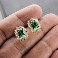 Real 14k Yellow Gold 5 CT Green Emerald & Diamond Cluster Stud Earrings Women's