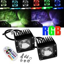"3"" LED Work Light Bar Cube Pods RGB Strobe Color Changing Driving Offroad Truck"