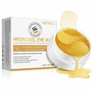 60pcs Under Eye Gold Hydrogel Collagen Ceramides & Vitamin C Eye Mask Patches