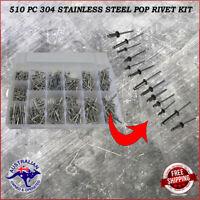 510 pc 304 Stainless Steel Pop Rivet Assortment Kit 6 mm to 25 mm stalk size