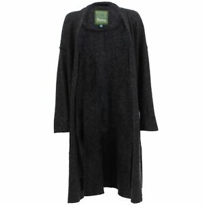 Wool Blend Long Cardigan BOHEMIA SWEDEN Full Length Open Front  - Charcoal Grey