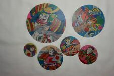 Six New Vintage Japanese Samurais Warriors Round Menko Game Cards Different Size