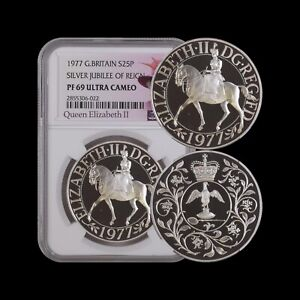 GREAT BRITAIN. 25 New Pence, 1977, Silver - NGC PF69 - Top Pop 🥇 Jubilee Crown
