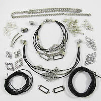 Bastelset Schmuck selber machen Armband Kette Leder 1,5 mm Schwarz Silber Perlen