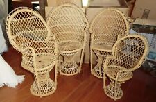 "4 Wicker Chairs - 1 - 12"""" tall,  3 - 16.50"" tall"