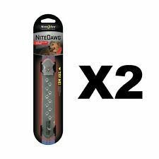 Nite Ize Nite Dawg LED Collar Cover Grey w/Red Safety Light Glow/Flash (2-Pack)