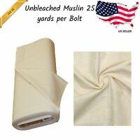 Muslin Fabric Off White Unbleached 36/38 in. Cotton Premium 25 Yards Per Bolt