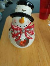 Blue Sky Clayworks Snowman With Dangle Heart Tea Light Holder