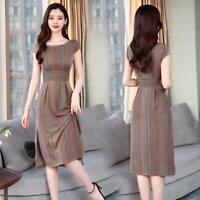 Retro Women A-Line Dress Tunic Long Short Sleeve Striped Sundress Slim Dresses