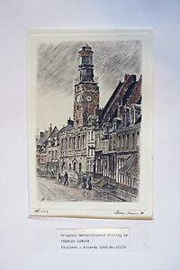 Charles Samson - Original Watercolour Etching - Diullens Picardy 1950 (58?)