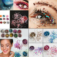200Colors Nail Face Tattoo Eye Shadow Glitter Flake Chunky Sequins Festival Body