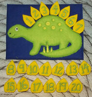 Handmade Dinosaur Counting Game - Great for toddlers - learning travel game
