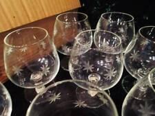 NOS Antique Vtg MCM Starburst Hand Blown Etched JAPAN Brandy Cocktail Glasses 8
