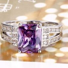 NEW Square-Cut 1.5 carat Amethyst + White Sapphire Ring~925 Sterling Silver~Sz 8