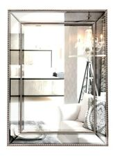 TRADITIONAL MIRROR LARGE RECTANGLE WALL FRAME HANGING ART GLASS SILVER 110x80cm