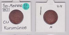 3 Pfennig Kupfer Münze Sachsen-Coburg-Saalfeld 1821 (120733)