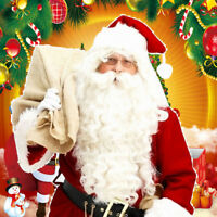Unique Santa Claus Father Christmas White Wig Beard Adult Xmas Fancy Dress GB