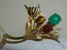 "W Ard Signed 1/20Th 12 Kgf Thistle Brooch W/Stone Carved Scarab Accents 2"" L"