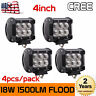4X 4inch 18W CREE Flood Pods Led Work Light Off Road 4WD ATV Boat SUV UTE Jeep 3