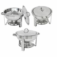 Stainless Round Chafer Chafing Dish 5QT Food Tray Warmer Catering Banquet Buffet
