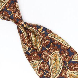 NWT Joseph Abboud Mens Silk Necktie Brown Beige Navy Teal Floral Print Tie