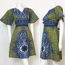 VINTAGE 70S GREEN BLUE YELLOW BATIK ETHNIC KAFTAN DRESS 10