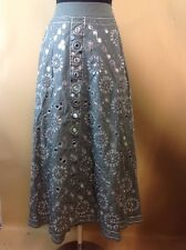 Monsoon XL Long Hippy Gypsy Skirt UK Size 18 NWT Grey Silver Sequins Mirrors