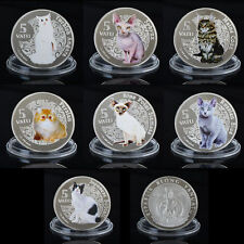 WR 2015 Vanuatu Cat 5 Vatu 999 Silver Coin Set Commemorative Animal Collectibles
