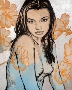 """DAVID BROMLEY """" KATE MAC IN BLUE """" STUNNING LIMITED EDITION PRINT"""