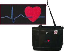 Cardiac Heartbeat Bag Black Gemline Zipper Tote Doctor Nurse Paramedic Monogram
