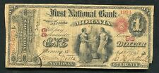 """1865 $1 """"ACE"""" THE FIRST NATIONAL BANK OF MORAVIA, NY NATIONAL CURRENCY CH. #99"""