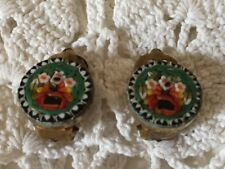 Vintage Clip on Earrings Micro-Mosaic Made in Italy Circa 1950s