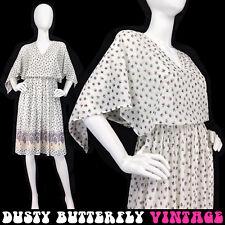 VINTAGE 70s BOHO CAPE DRESS Floral Print MIDI Hipster SECRETARY Hippie Sz S 4 6