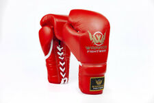 10oz Leather Boxing Gloves Lace up Professional Fight Gloves Punch Bag Training