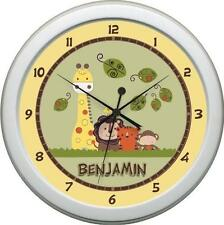 Yellow Greens & Brown Personalized Jungle Walk  Wall Clock Nursery Decore