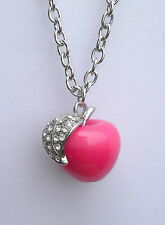 "Large Pink Apple with Crystal Studed Leaf Pendant on Silver Tone 28"" Chain"