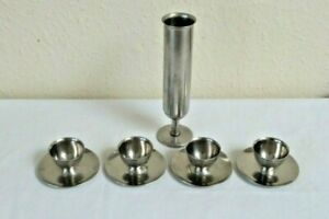 STAINLESS STEEL 4  EGGCUPS & STAINLESS STEEL POSY  VASE