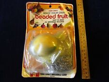 Vintage Fibre-Craft Beaded Fruit Kit Plum Old Stock SEALED PKG Pin Sequin A47