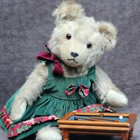 """Pauline"" Antique Vintage Teddy Bear w Doll Dress & Billard Table 1930-1940s"