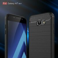For Samsung Galaxy A5 A7 2017 Shockproof Soft Rubber Case Carbon Fiber Cover New