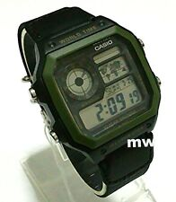Casio Ae-1200whb-1b Nylon Digital World Time Mens Teens 100m Sports Alarms Watch