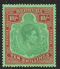 Bermuda 1939 10/- Bluish Green & Deep Red/Green SG 119a (Mint)