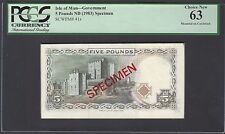 Isle Of Man Reverse 5 Pounds ND(1983) P41s Specimen Proof Uncirculated