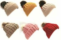 Girls Ladies Cosy Winter Cap Hat Faux Fur Pompom Ribbed Cable Knit Beanie Warm